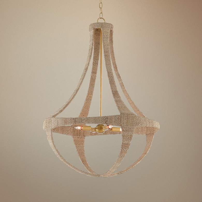"Ibiza 28"" Wide Natural Abaca Rope 4-Light Chandelier"
