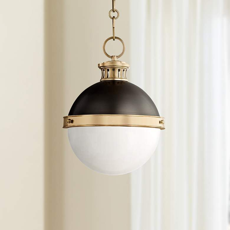 "Latham 9 1/2""W Aged Brass and Antique Bronze Mini Pendant"