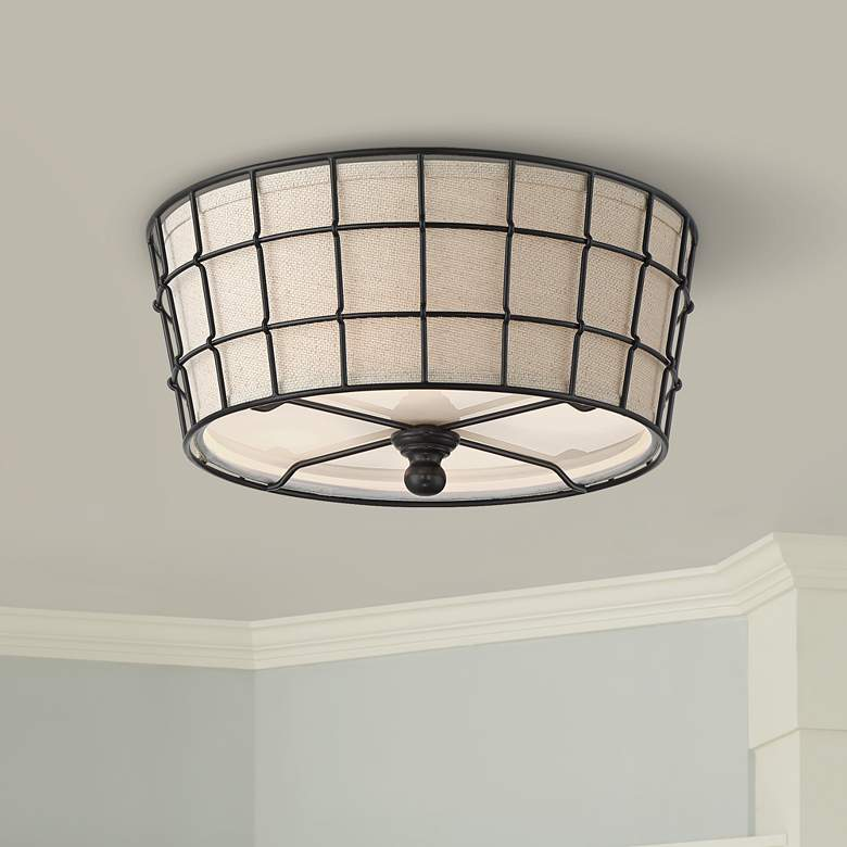 "Taya 16"" Wide Burlap and Wire Ceiling Light"