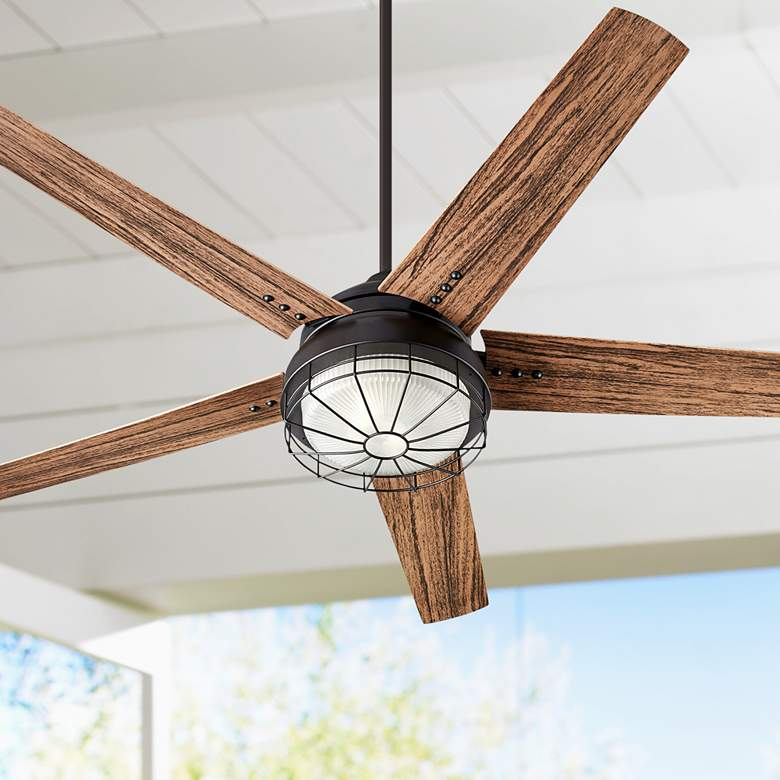 "60"" Quorum Westland Noir LED Patio Ceiling Fan"
