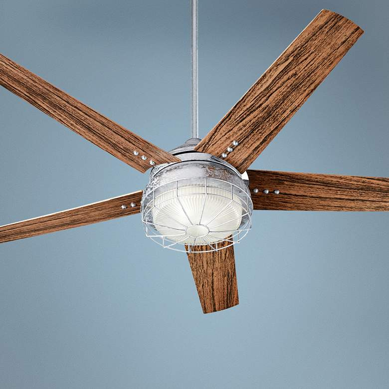 "60"" Quorum Westland Galvanized LED Patio Ceiling Fan"