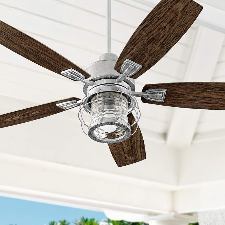 "52"" Quorum Galveston Galvanized Patio Ceiling Fan"