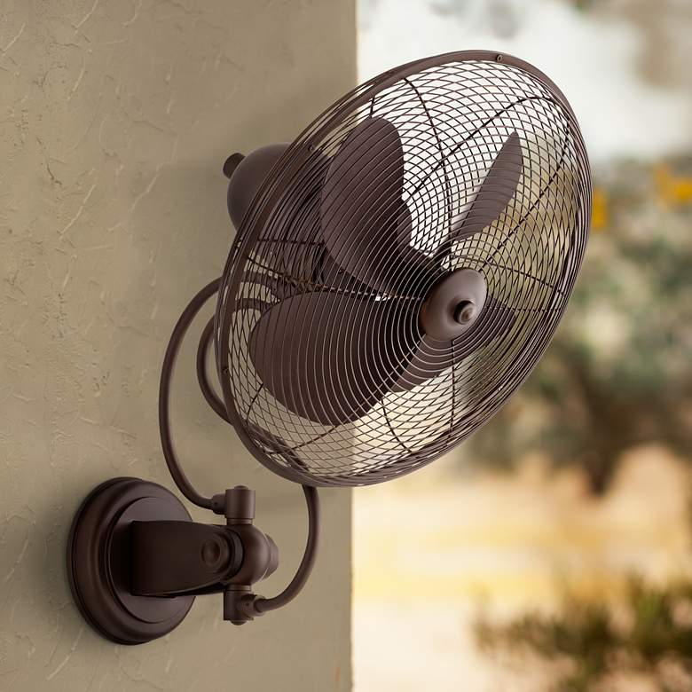 "14"" Quorum Piazza Oiled Bronze Patio Wall Fan"