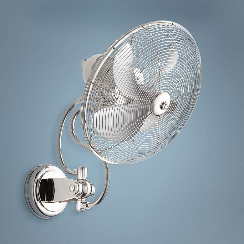 "14"" Quorum Piazza Polished Nickel Patio Wall Fan"