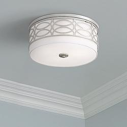 "Suisun 15"" Wide Laser Cut Brushed Nickel Ceiling Light"