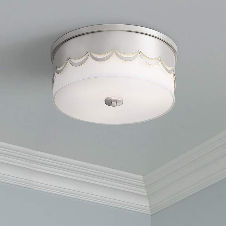 "Broadus 14 1/4"" Wide Drape Cut Brushed Nickel Ceiling Light"