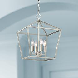 "Queluz 13"" Wide Brushed Nickel 4-Light Entry Pendant Light"