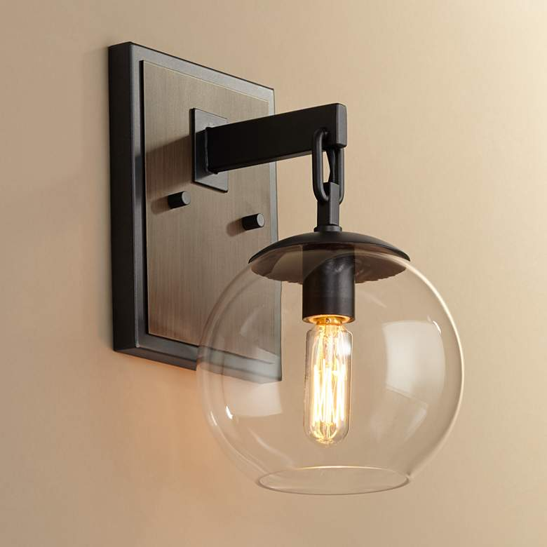 "Possini Euro Webly 10"" High Gunmetal and Wood Wall Sconce"