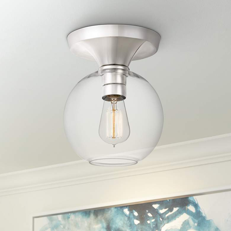 "Quoizel Hawley 7 3/4"" Wide Polished Nickel Ceiling"