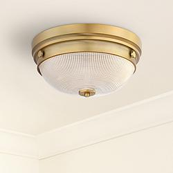 "Possini Euro Glendive 13 1/4"" Brass Bowl Ceiling Light"