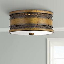 "Quoizel Roadhouse 13"" Wide Aged Walnut Drum Ceiling Light"