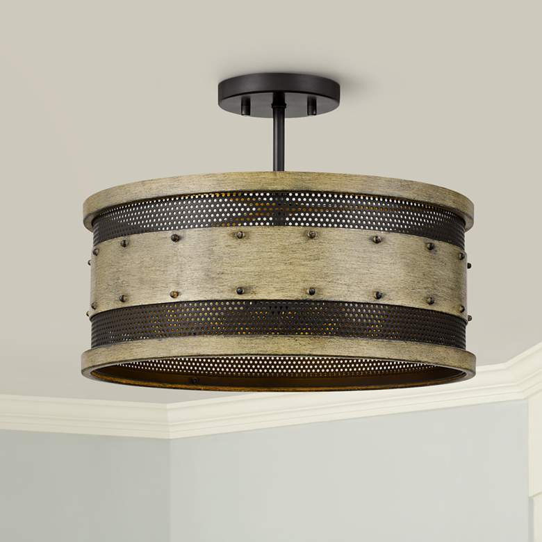 "Quoizel Roadhouse 16"" Wide Natural Walnut Drum Ceiling"