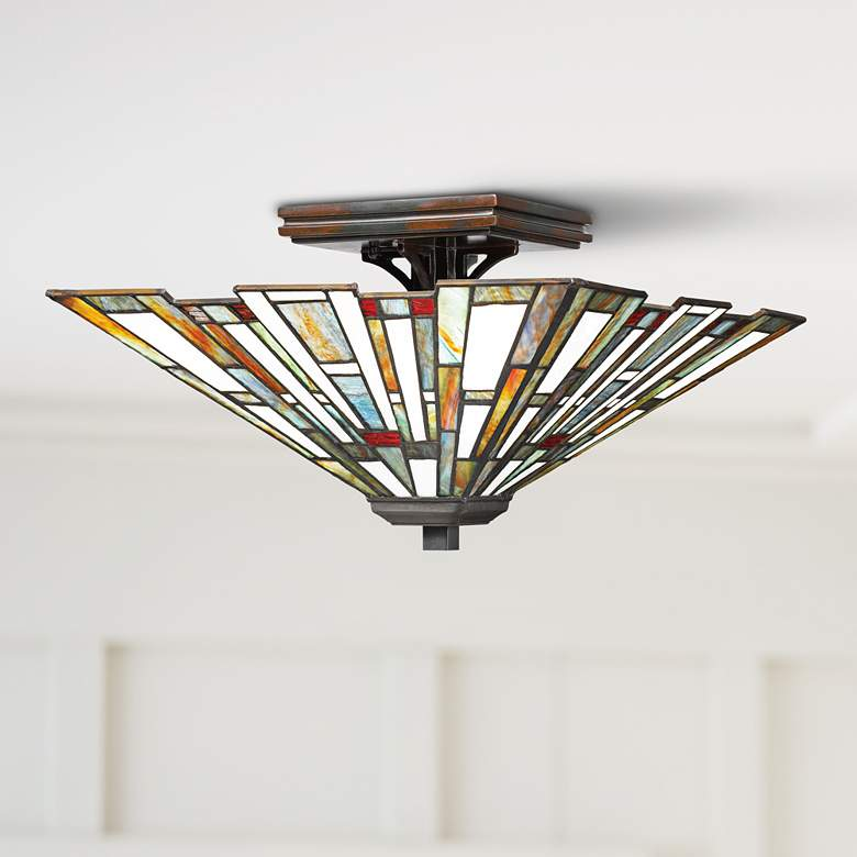 "Quoizel Maybeck 14 1/2"" Wide Valiant Bronze Ceiling Light"