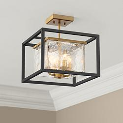 "Possini Euro Liston 14""W Iced Black and Brass Ceiling Light"