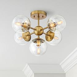 "Possini Euro Medhi 19 3/4""W 5-Light Warm Brass Ceiling Light"