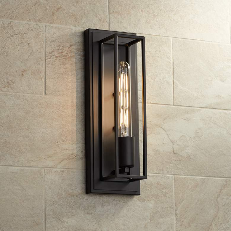 "Possini Euro Faizah 13 1/2"" High Bronze Box Wall Sconce"