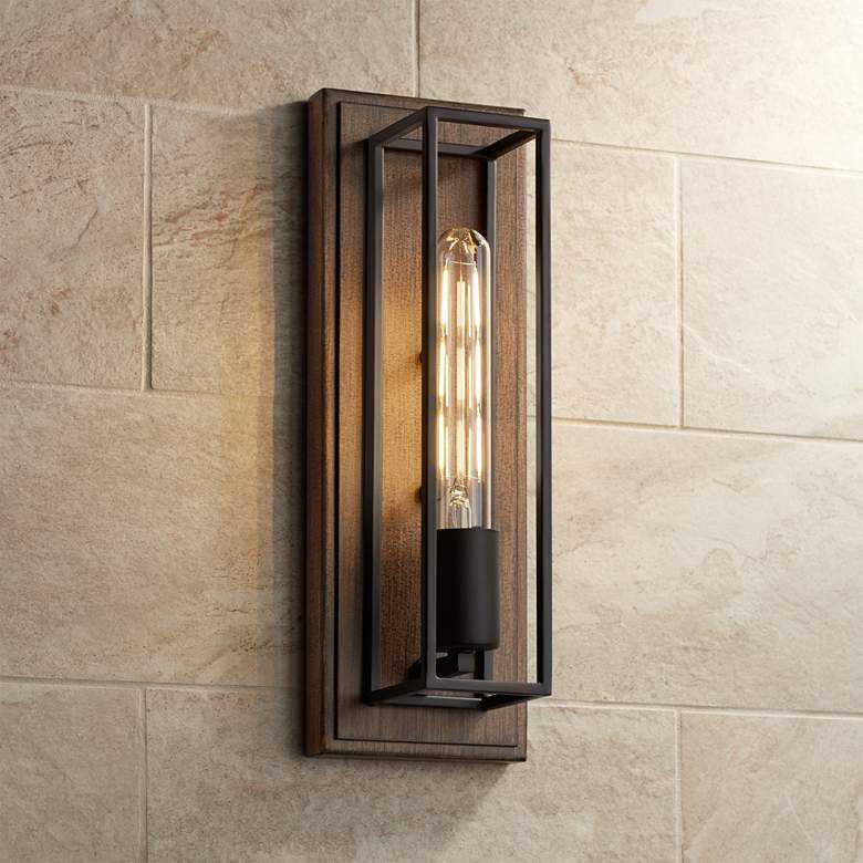 "Possini Euro Faizah 13 1/2"" High Wood Grain Box Wall Sconce"