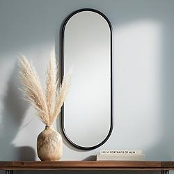 "Sania 15 3/4"" x 43"" Wide Black Oval Wall Mirror"