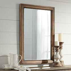 "Lesley Beaded Wood 26 3/4"" x 37"" Wall Mirror"