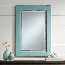"Tonya 26"" x 37 1/2"" Distressed Blue Wall Mirror"