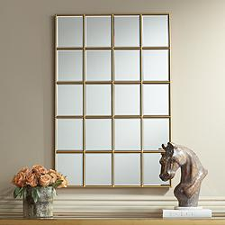 "Kailan Gold 24"" x 36"" Rectangular Paneled Wall Mirror"