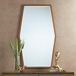 "Ayva Gold 28"" x 47"" Hexagon Wall Mirror"