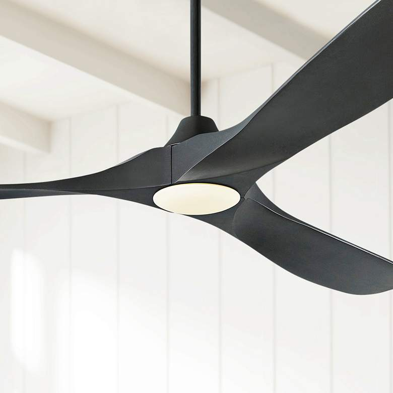 "70"" Monte Carlo Maverick Max Matte Black LED Ceiling Fan"