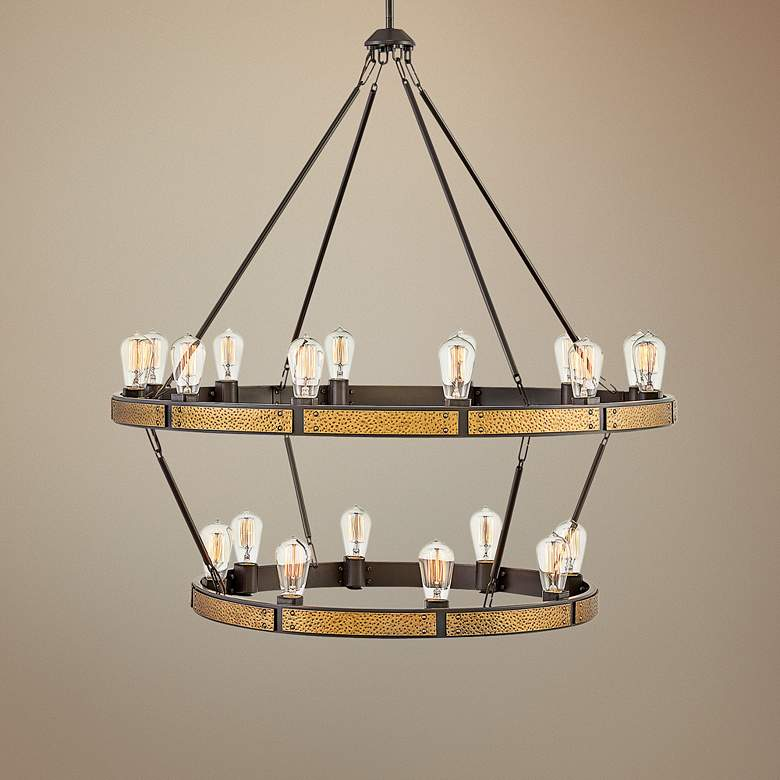 "Everett 38 1/2""W Bronze and Brass 20-Light 2-Tier"