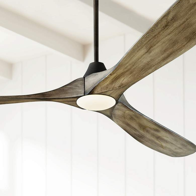 "70"" Monte Carlo Maverick Max Aged Pewter LED Ceiling Fan"