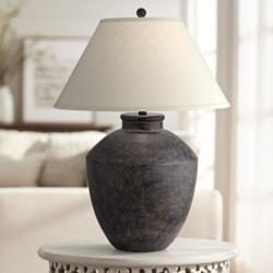 Massa Black Terracotta Jar Table Lamp