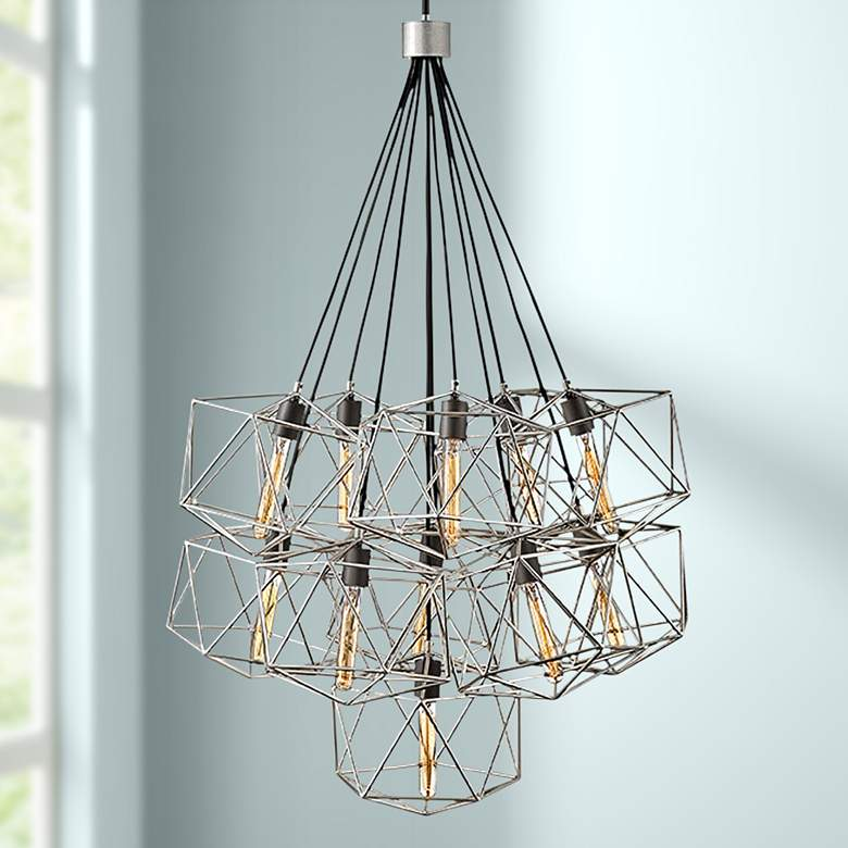 "Astrid 33 1/2"" Wide Silver Patina 11-Light Cluster Pendant"