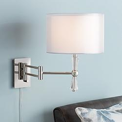 Possini Euro Aydin Polished Nickel Swing Arm Wall Lamp
