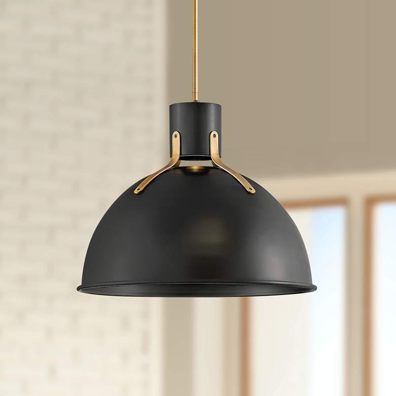 "Hinkley Argo 20""W Satin Black and Brass LED Pendant Light"
