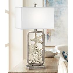 White Sands Gray Washed Starfish and Sand Dollar Table Lamp