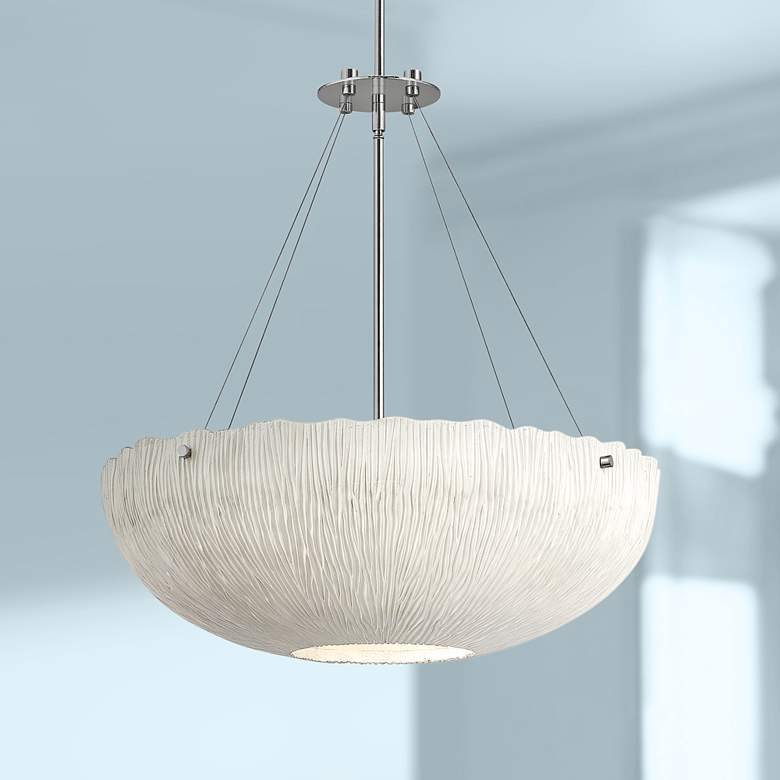 "Hinkley Coral 24 3/4"" Wide Shell White Bowl Pendant Light"