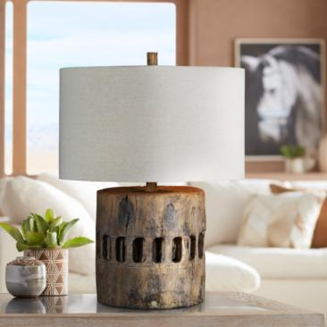 Forty West Decklin Weathered Wood Accent Table Lamp