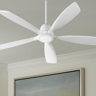 "56"" Quorum Holt Studio White LED Ceiling Fan"