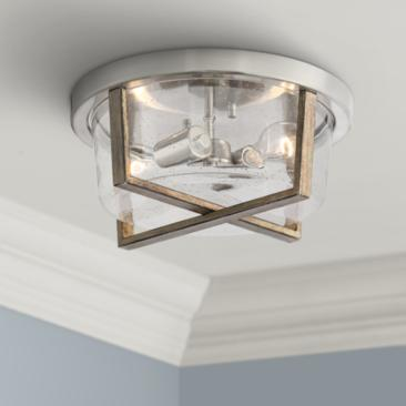 "Possini Euro Dery 13""W Nickel and Wood Grain Ceiling Light"