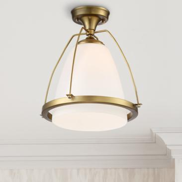 "Possini Euro Orland 14""W Warm Brass Ceiling Light"