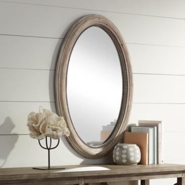 "Zahra Wooden 23 1/2"" x 34"" Oval Wall Mirror"