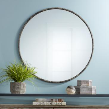 "Caden 35 1/2"" Round Distressed Black Wall Mirror"