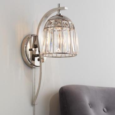 Derren Polished Nickel and Crystal Pin Up Wall Lamp