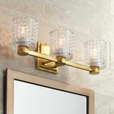 "Possini Euro Sari 22""W Glass and Gold 3-Light Bath Light"