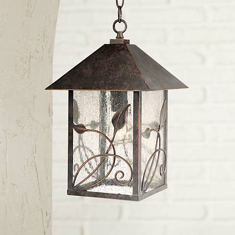 "French Garden 15"" High Bronze Outdoor Hanging Light"