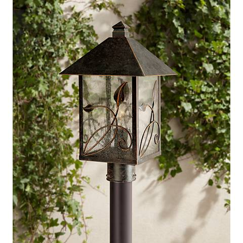 "French Garden 17"" High Glass and Bronze Outdoor Post Light"