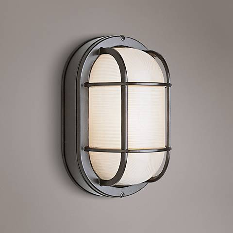 Bulkhead 11 High Black Oval Grid Outdoor Wall Light