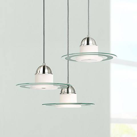 Brushed Steel Saucer Pendant Chandelier