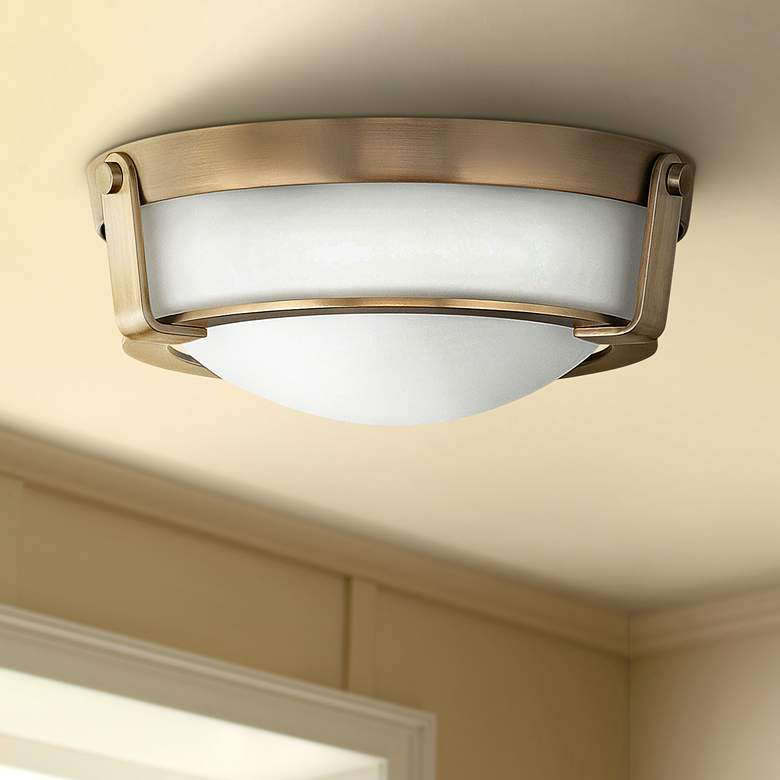 "Hinkley Hathaway 13"" Wide Heritage Brass Ceiling Light"