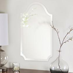 "Howard Elliott Frameless Scalloped 16""x27"" Wall Mirror"