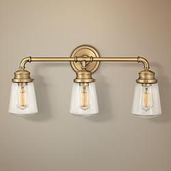 "Hinkley Fritz 24"" Wide Heritage Brass Bath Light"